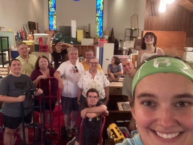 St. Paul's volunteers working to move materials from the Chapel